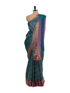 Designer Purple & Green Saree - Saboo