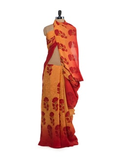 Yellow & Red Shaded Floral Saree - Saboo
