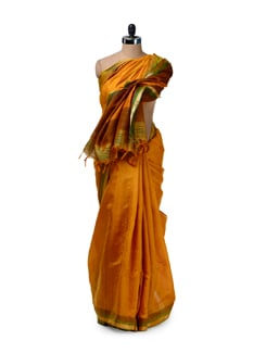 Designer Yellow-Green Silk Saree - Saboo
