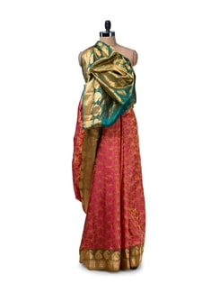 Multicoloured Floral Silk Saree - Saboo