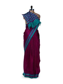 Pink & Blue Paisley Printed Saree - Saboo