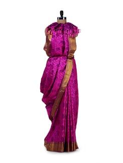 Pink & Gold Designer Silk Saree - Saboo