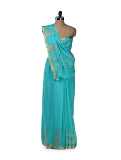 Elegant Sky Blue Dotted Saree - Saboo