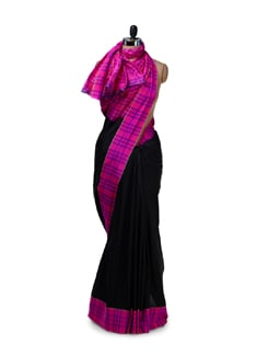 Designer Black & Pink Checked Saree - Saboo