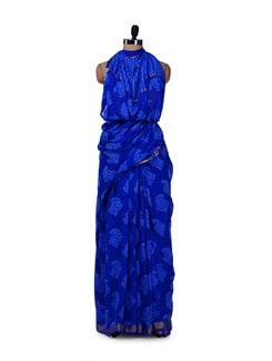 Designer Royal Blue Silk Saree - Saboo