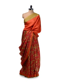 Orange & Pink Floral Silk Saree - Saboo