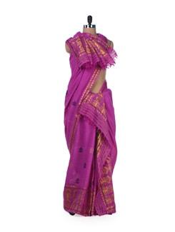 Traditional Purple 2-Piece Saree - MAKU
