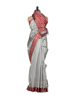 Traditional Grey & Red Silk Saree - MAKU
