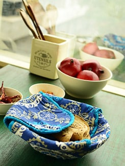 Blue Ethnic Print Bread Basket - HOUSE THIS