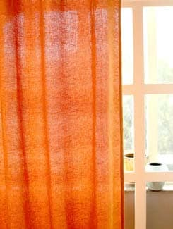 Orange Floral Pattern Curtain - HOUSE THIS
