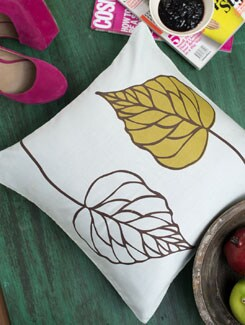 Falling Leaves Print Cushion Cover - HOUSE THIS