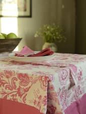 Pretty Floral Pink Set Of- 6 Seater Table Cover + 6 Napkins + 1 Runner - HOUSE THIS