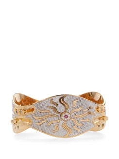 Elegant Sunrays Golden And Silver-Tone Bangle - Vendee Fashion