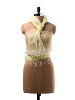 Light Green Silk Scarf With Tassels - WELKIN