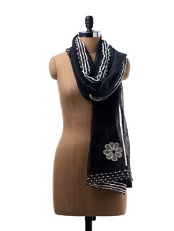 Black Woollen Scarf With Hand Embroidery - WELKIN