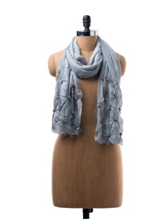 Light Grey Silk Scarf With Beaded Embroidery - WELKIN