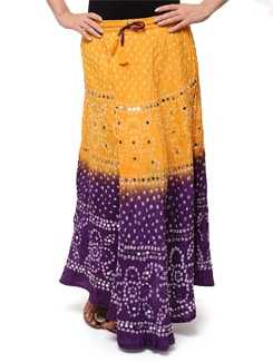 Yellow & Purple Jaipuri Bandhej Long Skirt - Ruhaan's