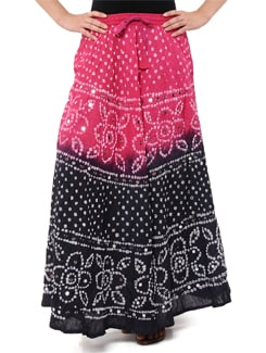 Pink & Grey Jaipuri Bandhej Long Skirt - Ruhaan's