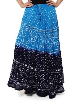 Navy & Turquoise Blue Jaipuri Bandhej Skirt - Ruhaan's