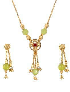 Gold & Green Necklace With Earrings - A.J. Accessories