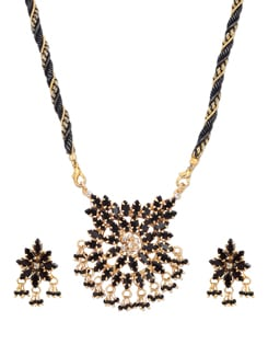 Black & Gold Designer Necklace Set - A.J. Accessories