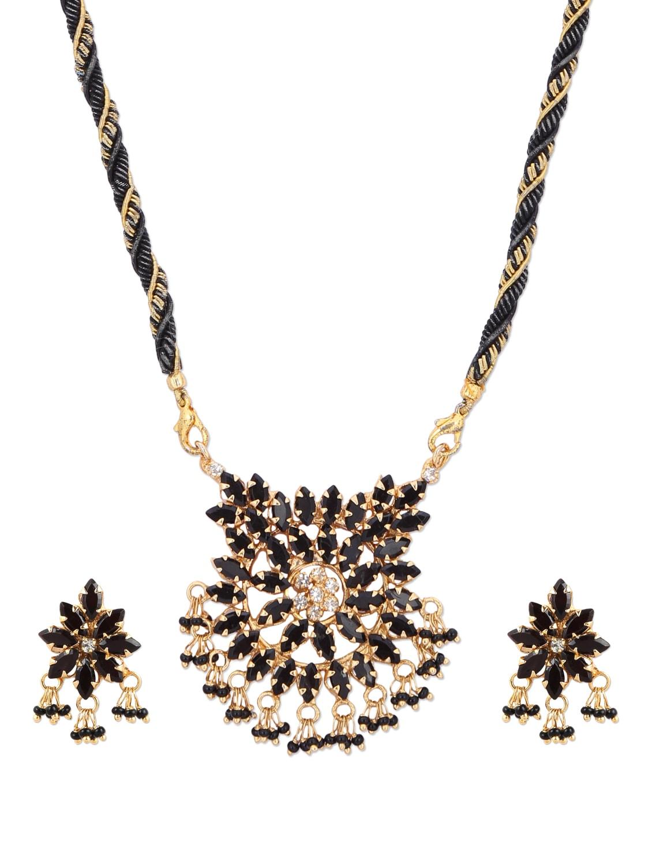 Black & Gold Designer Necklace Set - A.J. Accessories