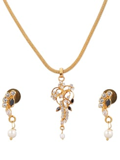Gold Necklace Set With Floral Pendant - A.J. Accessories
