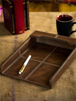 Leather Paper Holder With Contrast Stitching - Lthr