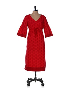 Printed Red Kurta With Flared Sleeves - Desiweaves