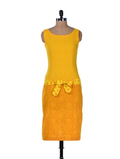 Sunshine Yellow Printed Long Dress - Desiweaves