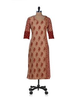 Ethnic Beige & Red Printed Kurta - Desiweaves