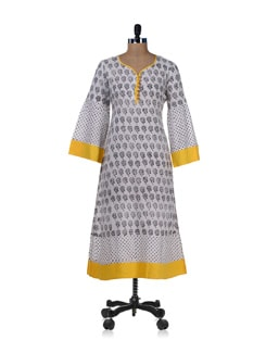 Printed Black & White Kurta - Desiweaves