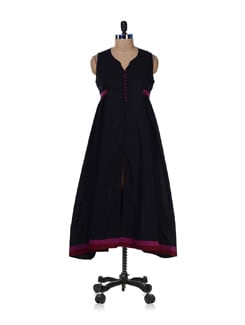 Long Black Cotton Kurta - Desiweaves