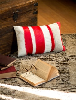 Red And White Patch Work Cushion - Lthr