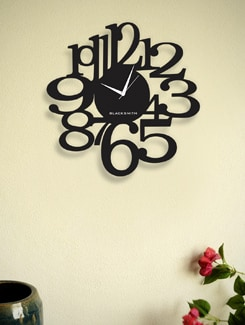 Edgy Black Analog Wall Clock - BLACKSMITH