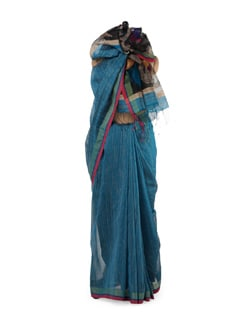 Peacock Motif Blue Silk Saree - Story Of Weaves