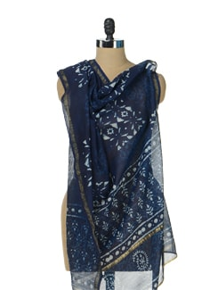 Block Print Dupatta In Navy Blue - Sakrip