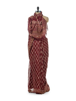 Block Printed Chanderi In Maroon - Sakrip
