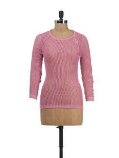 Open Knit Pink Pullover - SPECIES