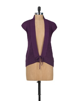 Open Knit Cardigan-Purple - SPECIES