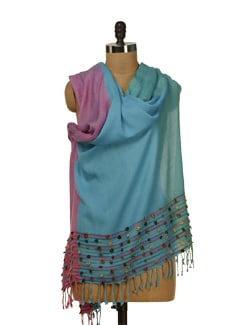 Embellished Scarf In Dual Colours Of Turquoise And Magenta - HOS Designs