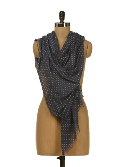 Navy Blue Polka Dotted Scarf - HOS Designs