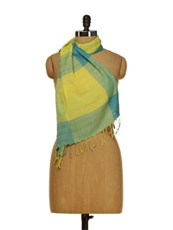 Bright Scarf In Hues Of Turquoise,Lemon Yellow And Light Green - HOS Designs