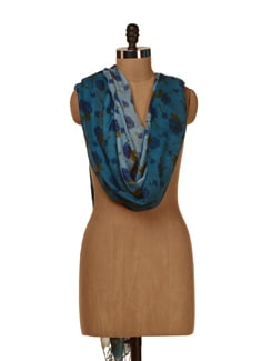 Rose Embellished Scarf In Blue - HOS Designs