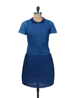 Blue Peter Pan Collar Dress - Nangalia Ruchira