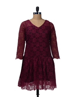 Lacy Net  Wine Colored Dress - Nangalia Ruchira