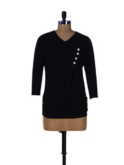 Elegant Black Ruched Top - L'elegantae