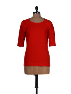 Red Back Placket Top - L'elegantae