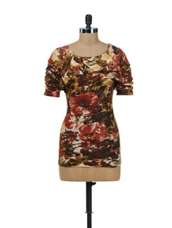 Abstract Print Ruffled Top - SPECIES