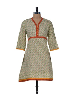 Printed Green Cotton Kurti - Jaipurkurti.com
